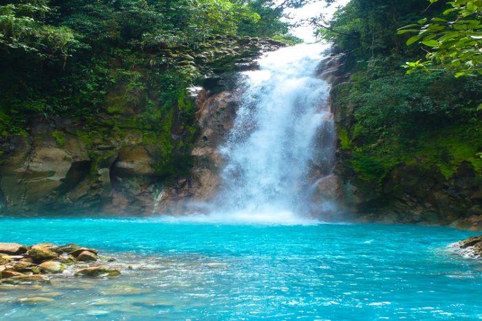 Rio Celeste Waterfall and Tenorio Volcano